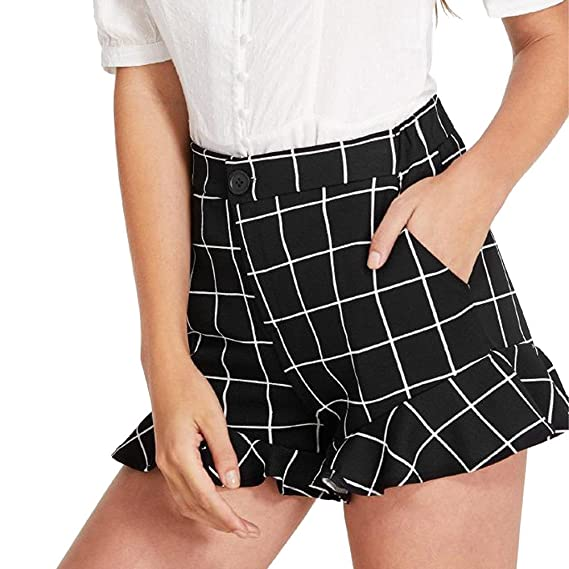 97942ab94e1f Sunergy Women s Plaid Printed Frill Shorts Summer High Waisted Wide Leg  Pants Casual Pocket Short Trousers