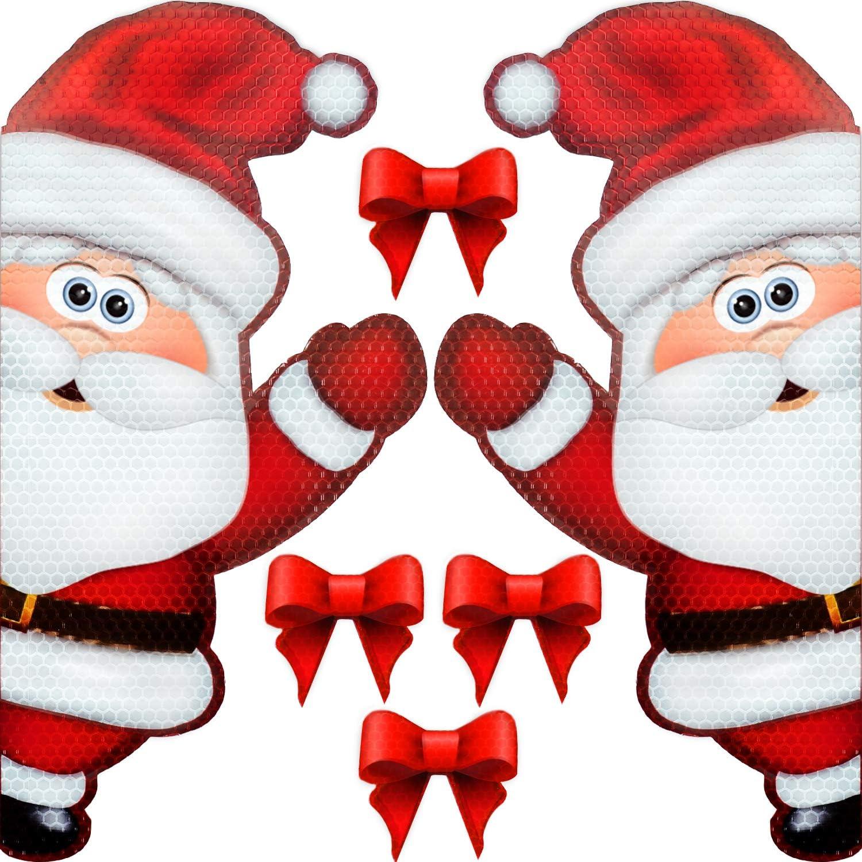 Bigtime Signs Jumbo Reflective Automotive Christmas Magnet Set - Waving Santa Claus Fun Holiday Car Decorations Kit with Bows (Santa)