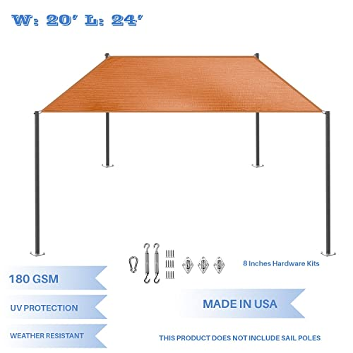 E K Sunrise 20 x 24 Orange Rectangle Sun Shade Sail