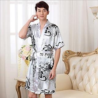 Boxer Briefs Women's Men's Dressing Kimono Gown, Luxurious Silk Satin Short Robe Bathrobe Bridesmaid Wedding Nightwear Pyjamas (Color : Mens 1, Size : L)