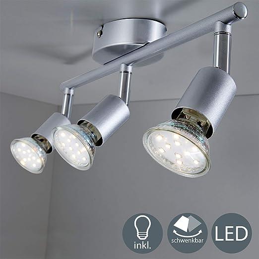 B.K.Licht - Lámpara de techo con 3 Focos LED GU10, focos ...