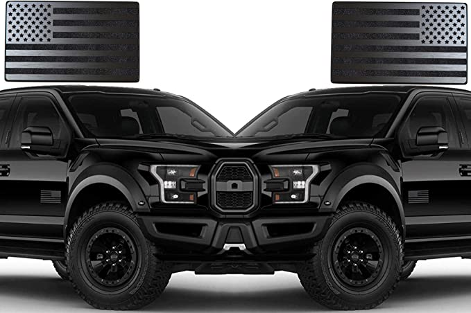 5x3, Black USA American 3D Metal Flag Auto Emblem for Cars Trucks 2pcs Forward and Reverse Set