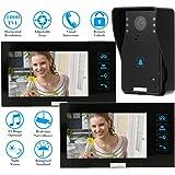 KKMOON Video Porte Intercom Interphone Visuel Sonnette avec 1pcs 1000TVL CCTV Caméra Extérieure Antipluie + 2pcs 7 '' Moniteurs Intérieurs Vision Nocturne Déverrouillage à Distance TP02K12