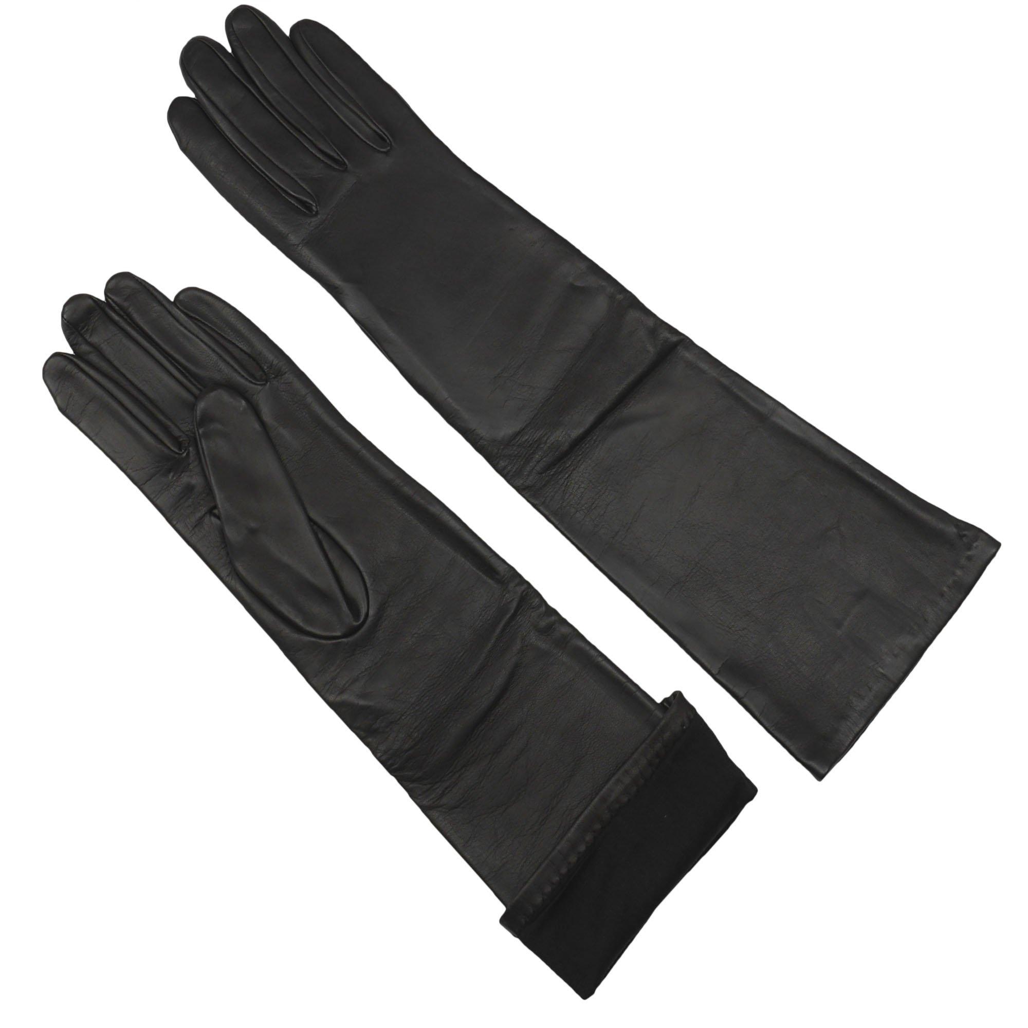 Long Opera Length Sheepskin Leather Gloves for Women   Silk Lined   16 inch by Grandoe (Brown 6.5 - S)