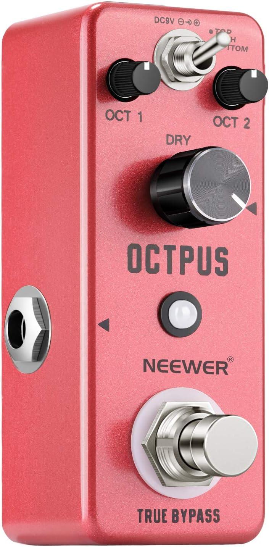 Neewer Pedal Efecto Guitarra Digital Octava Efectos Avanzados True Bypass 3 Modos Superior/Ambos/Inferior con 2 Modos Trabajo Normal/Fijo Adaptador de Corriente DC 9V(No Incluido)