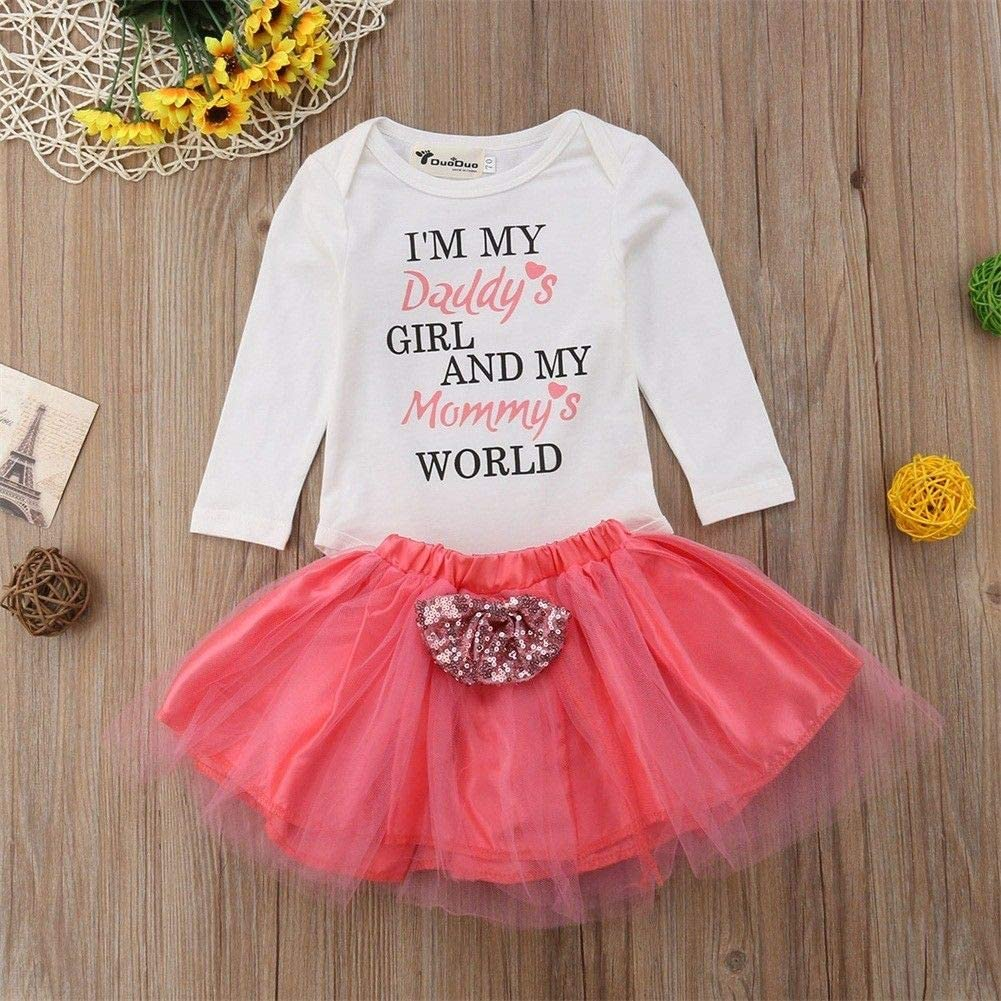 Infant Baby Toddler Girls Daddys Girl Mommys World Romper with Tutu Skirt Clothing Set