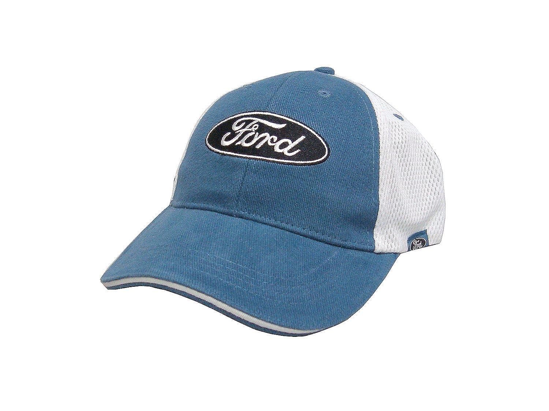 Amazon.com  Hot Shirts - Men s Ford Mesh Trucker Hat  Blue-White - Mustang  F-Series GT Boss Torino Galaxie Fairlane Cobra Hot Rod  Clothing 6e0b78ec139