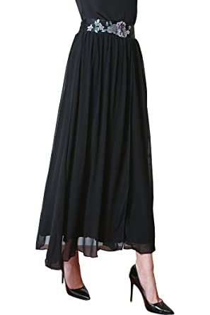 ca23a44d8 VOA Women's Black Embroidery Silk Skirt C5086 at Amazon Women's ...