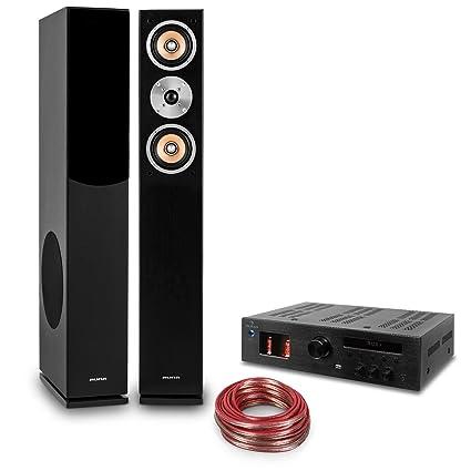 auna HiFi Set Music Glow Amplificador HiFi de válvulas y Altavoces Torre (2X Altavoz pasivo