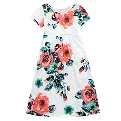 2-8T Girls Floral Printing Long Maxi Dress with Sleeves Beach Skirts Summer Tops