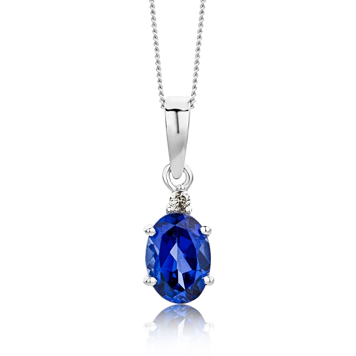 silver necklace amazon blue for gemstone com infinity pendant women caperci created dp sapphire sterling jewelry