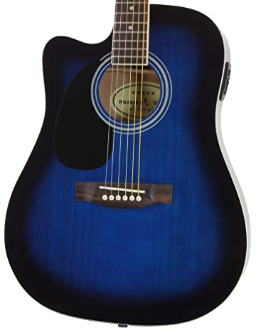 Jameson Guitars Full Size Thinline Acoustic Electric Guitar with Free Gig Bag Case & Picks Blue