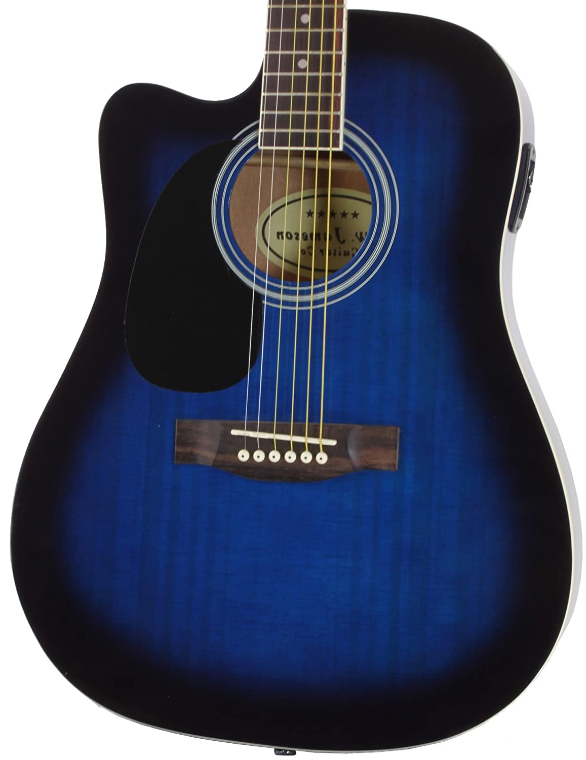 Amazon Jameson Guitars Full Size Thinline Acoustic Electric Guitar With Free Gig Bag Case Picks Blue Left Handed Musical Instruments
