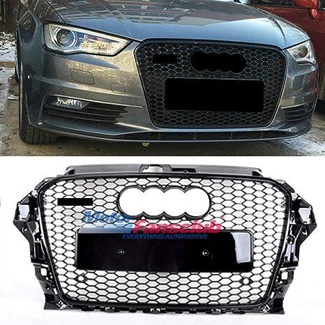 Rejilla superior delantera Honeycomb, rejilla negra brillante para Audi, A3, S3, RS3