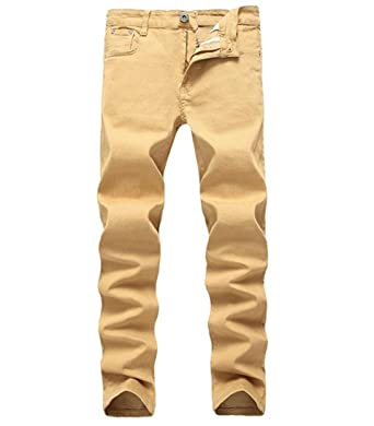 7e73fcd2daf0 OBT Boy's Khaki Younger-Looking Fashionable Slim Fit Stretch Skinny Fit  Denim Jeans 6