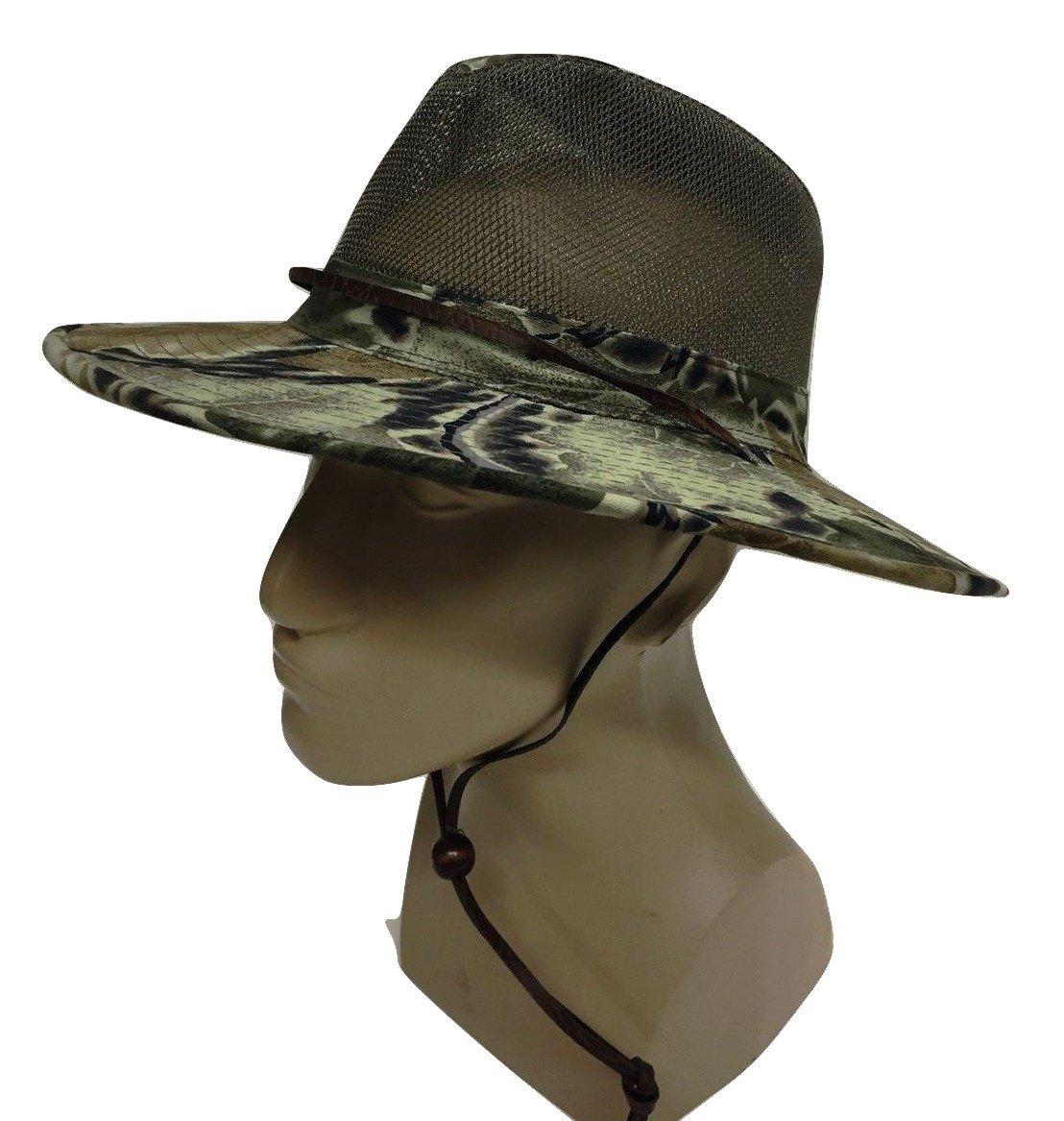 Safari Camo Camouflage Aussie Bush Hat w/ Mesh Boonie Bucket Cotton Medium