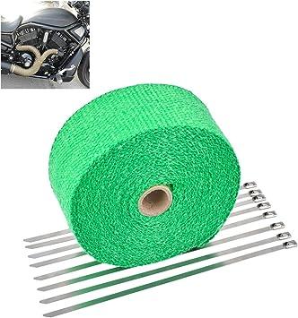 """8 Ties Kit High Heat Quality Fiberglass 2/"""" 50Ft Green Header Exhaust Heat Wrap"""