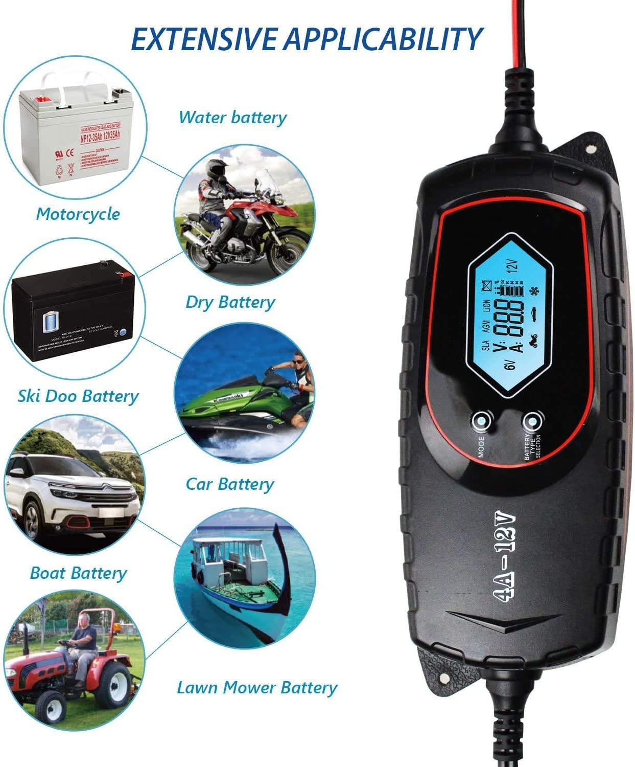 ATV and More Truck 6//12V Trickle Charger for Car GOOSUO Smart Battery Maintainer car battery charger//jump starter SUV RV Lawn Mower Boat Motorcycle