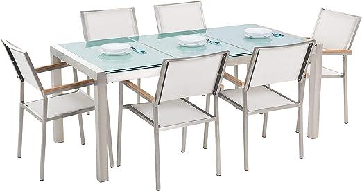 Beliani Conjunto de jardín Mesa en Vidrio 180 cm con 6 sillas Blancas GROSSETO: Beliani: Amazon.es: Hogar