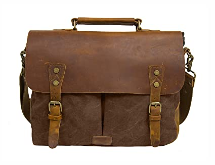 Men Vintage Canvas Shoulder Briefcase Messenger Tote Side Outdoor BagA-OneSize B071RDXGNY