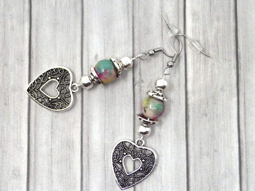 Pendientes para mujer en perlas naturales de Jade teñidas