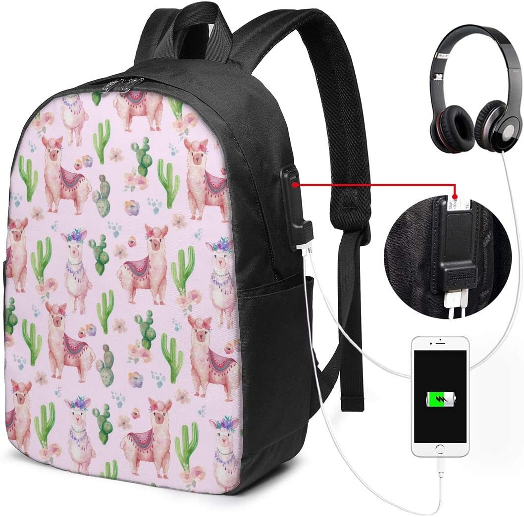 Cute Pink Cactus Llama Personality 17 Inch College School Computer Bag Laptop Backpack with USB Charging Port for Women Men College Student Travel Outdoor Camping Daypack
