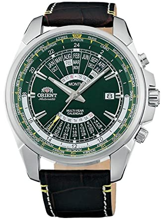 395301999 ORIENT Sports Automatic World-Time Green Dial Multi-Year Calendar Leather  Watch EU0B003F