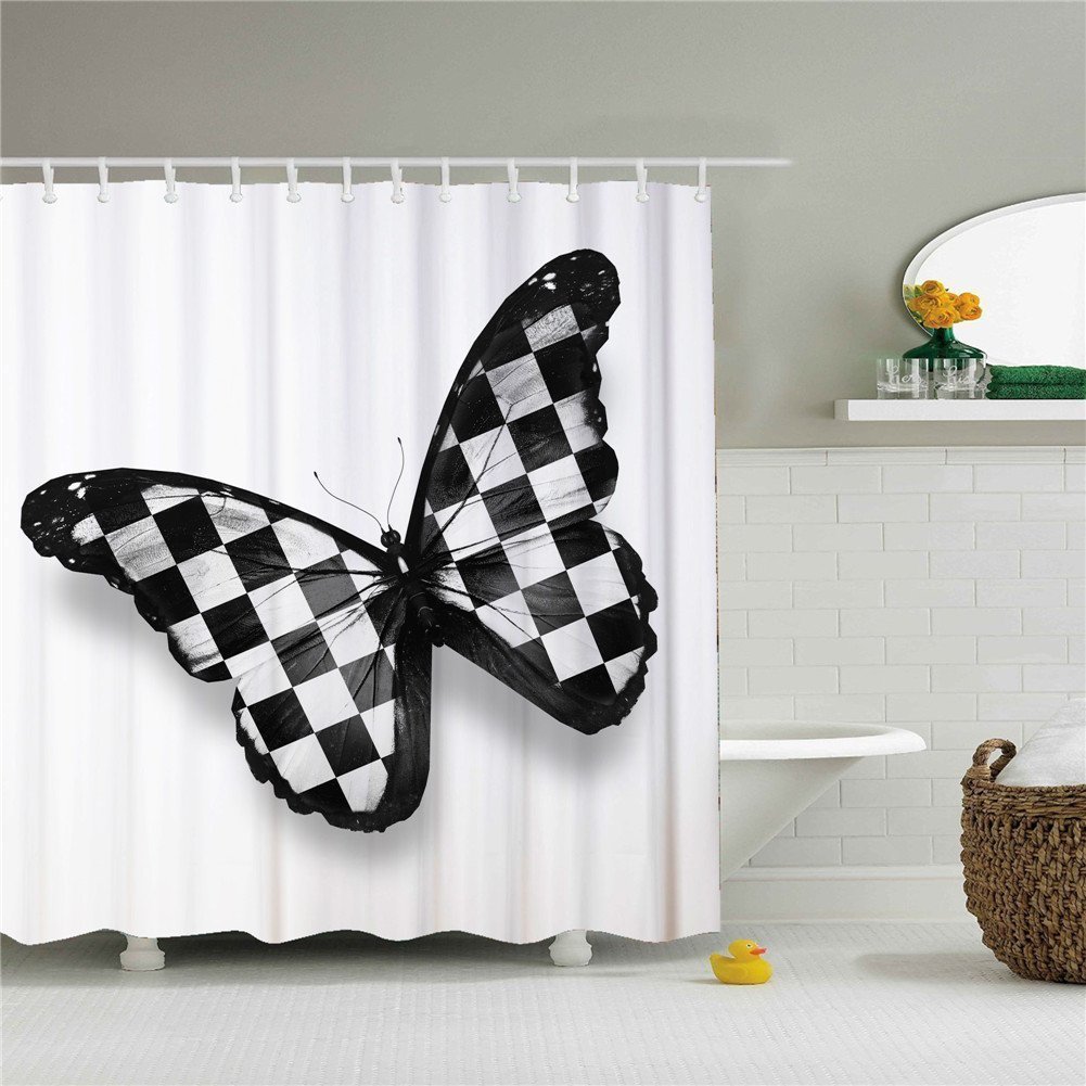 Amazon Mainstays Butterfly Fabric Shower Curtain For Bathroom Decoration 66x72 Inch Home Kitchen