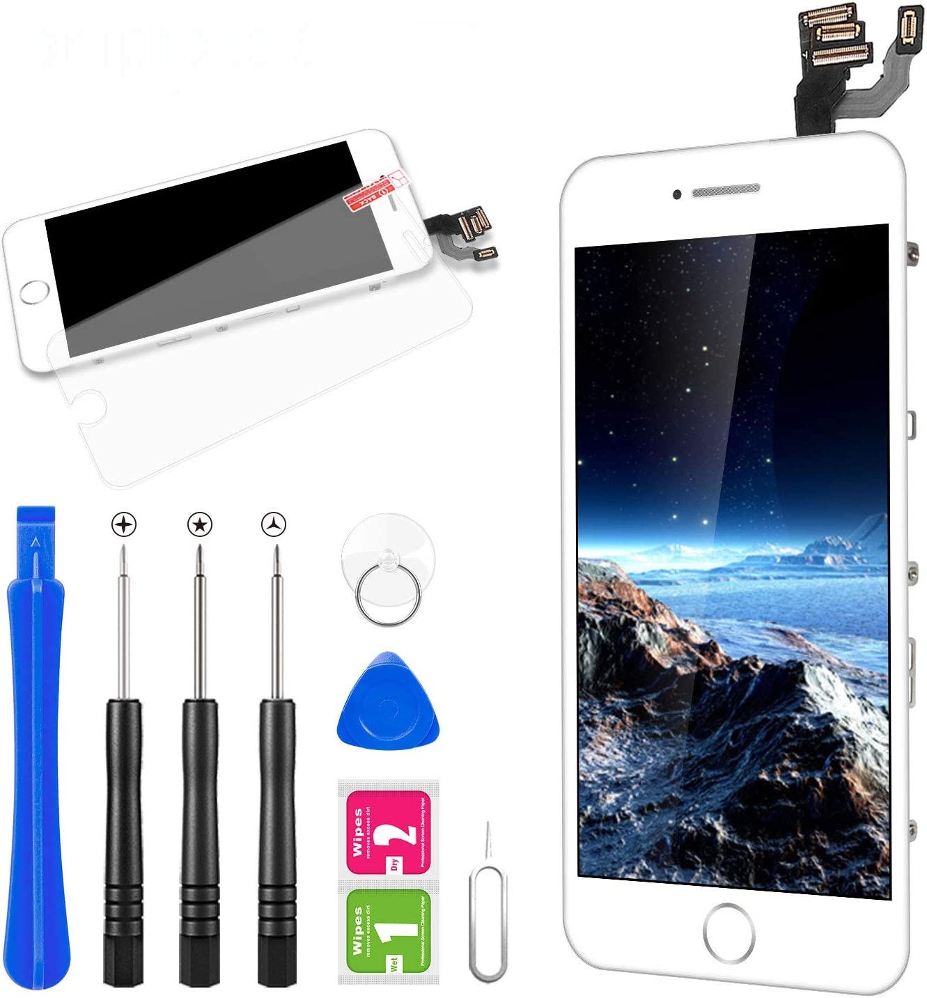 for iPhone 6 Plus Screen Replacement, FLYLINKTECH Full Assembly LCD Display Digitizer with Home Button, Front Camera, Ear Speaker, Proximity Sensor and Repair Tool Kit (White)