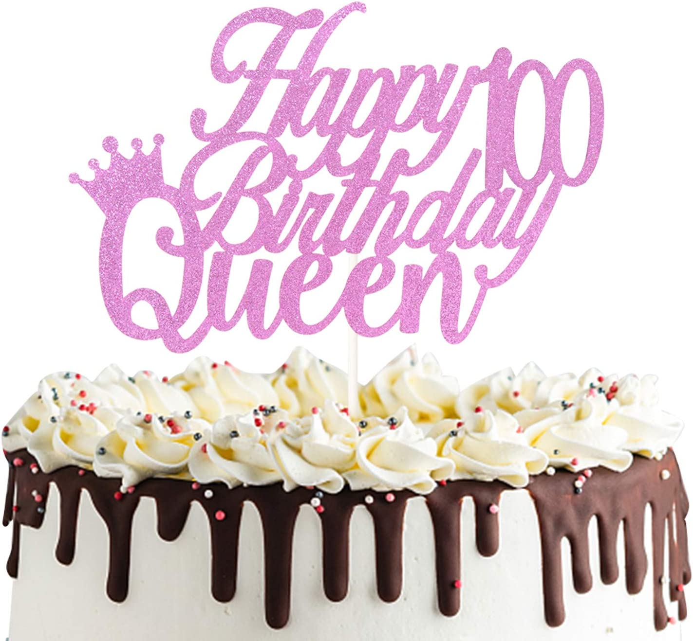Happy 100th Queen Birthday Cake Topper, Cheers to 100 Years,100& Fabulous, 100th Birthday Party Decorations