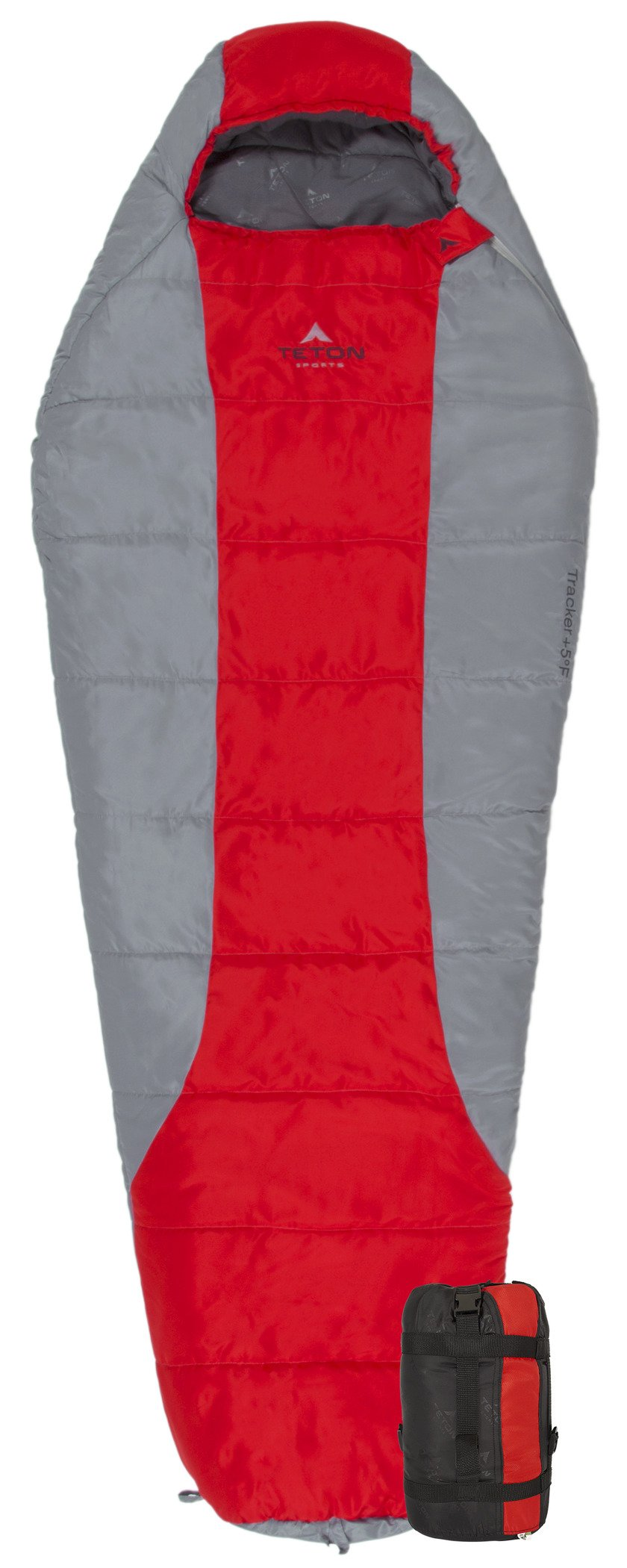 TETON Sports Tracker Scout Ultralight Mummy Sleeping Bag; Lightweight Backpacking Sleeping Bag for Hiking and Camping Outdoors; All Season Mummy Bag; Sleep Comfortably Anywhere; Red/Grey