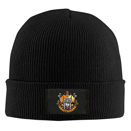 7089b12c35479 UAHD Knitted Hat Skeleton with Cowboy Hat Riding Motorcycle Unisex Cuffed  Knit Hat Cap Black at Amazon Men s Clothing store