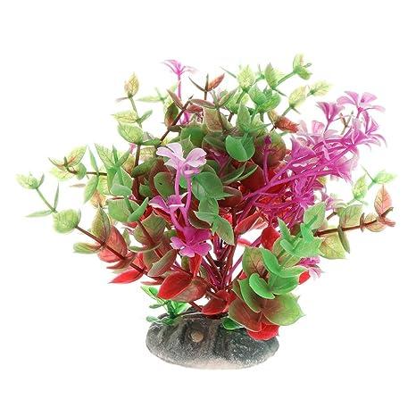 Jiamins Plantas Real de Agua de plástico Flor, Acuario Primer Plano Decor