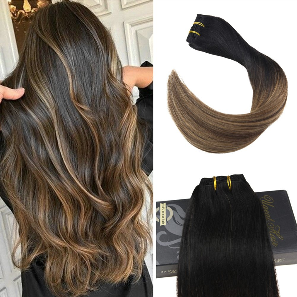 Ugeat 18Inch 10Pcs 120Gram Straight Remy Clip in Human Hair Extensions Balayage Ombre Hair Clip Extensions Color #1B Off Black Mixed with #10 Golden Brown Clip on Hair Extensions Real Human Hair Weihai Ugeat Hair
