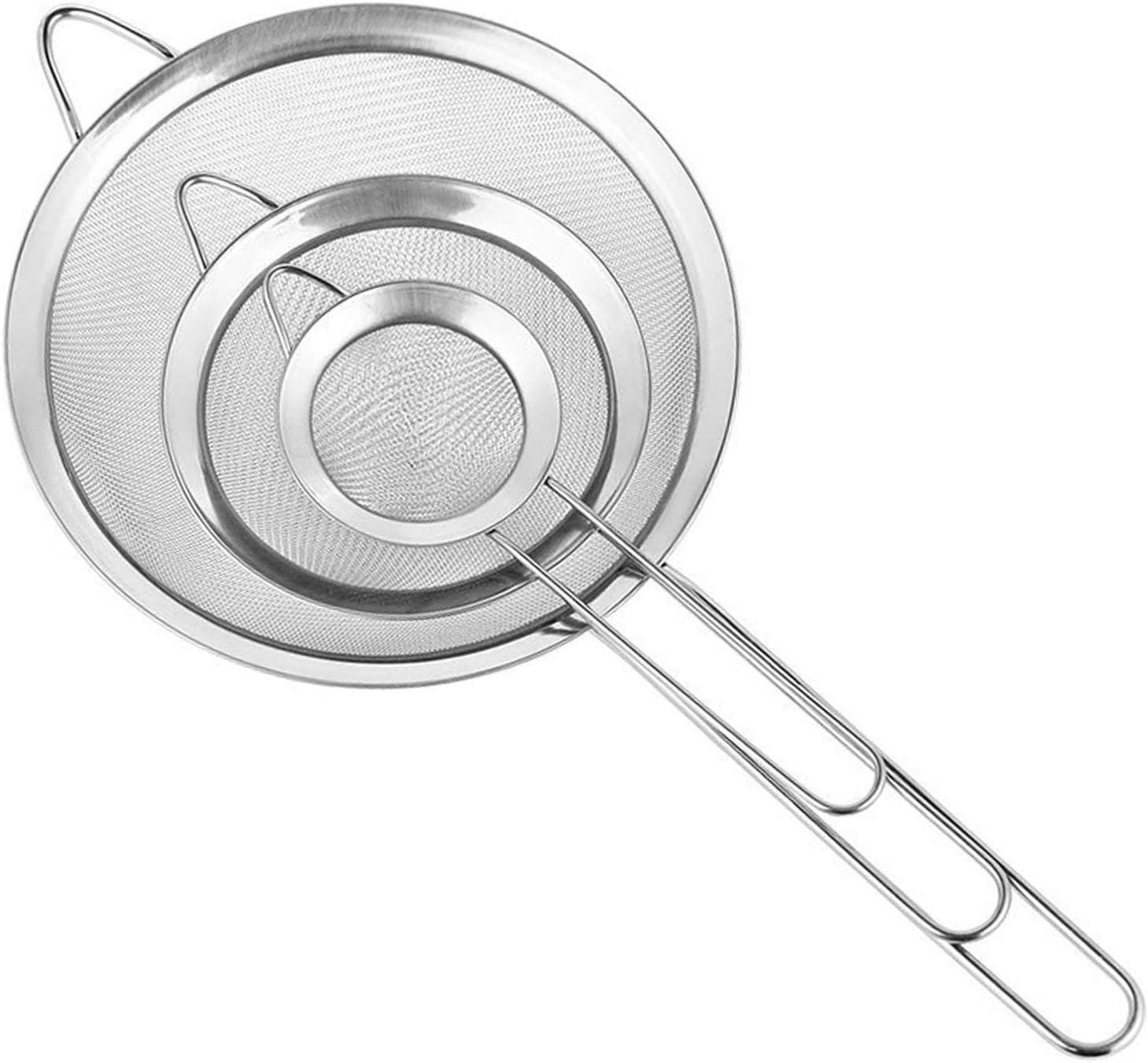 Cymax Juego de 3 Malla Fina Cocina Colador Profesional 7/12/18 cm Harina Tamiz, Espumadera para Freír Alimentos,Pastas Espaguetis y Fideos