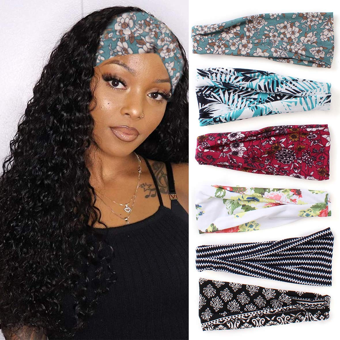 Kachanaa 6 Pack Boho Criss Cross Headbands Wig Vintage Elastic Bandana Headbands Hair Band Head Wrap for Women for Yoga Outdoor Sport Accessories(S4) : Beauty