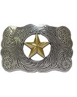 Antique Sterling Silver Finish Gold Ranger Star Belt Buckle