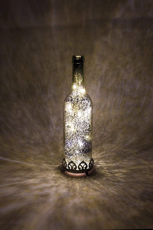 F/ête Home/&Decorations Lanterne LED Dor/ée en Verre D/écoratif en Forme de Bouteille D/îner Bougeoir Couleur Or 21,5 cm de Hauteur Anniversaire Bougie chauffe-plat pour Marriage