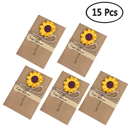 soochat vintage kraft paper greeting cards with handmade dried flower cards for mom teacher friends new