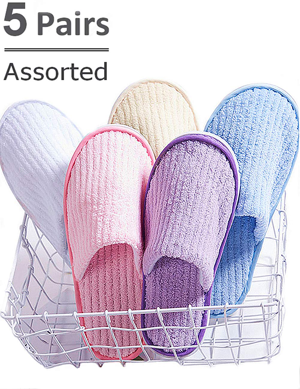Eucoz 5 Pairs Spa Slippers,Assorted Color,Closed Toe for Family,Guests,Travel,Hotel,Hospital,Washable,Portable,Disposable