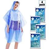 Disposable Rain Ponchos for Adults by(6 Pack) Including Drawstring Hood and Premium Quality 50% Thicker Material 100% Waterproof Emergency Rain Ponchos for Kids-Clear White