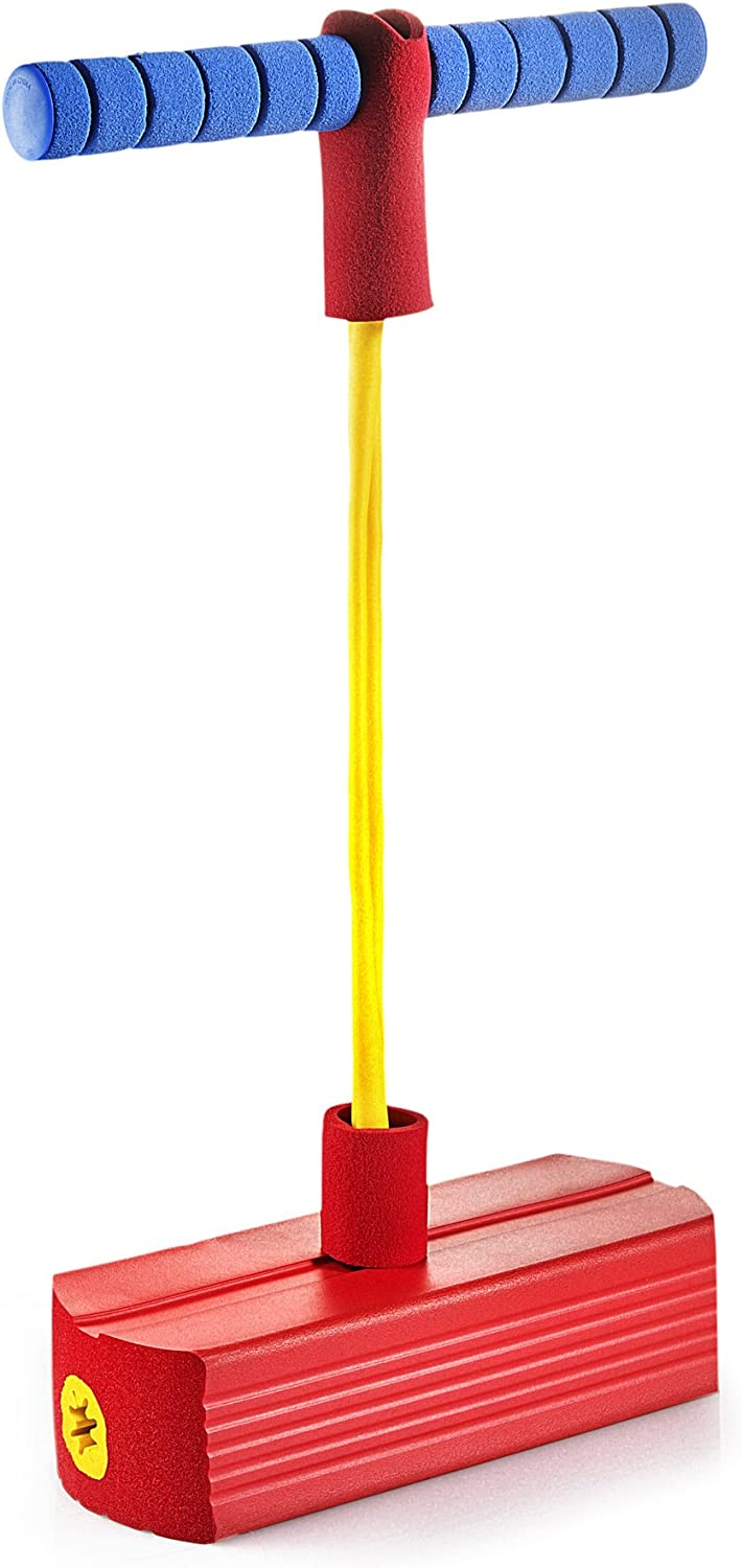 Blue Foam Pogo Stick for Kids Bungee Jumper Boing Kid Jumper and Durable Foam for Toddlers Jumparoo Sports Outdoor Indoor Play Boing Bounce Squeak Gams Jumper for 3 Years Up Accept 250LBS
