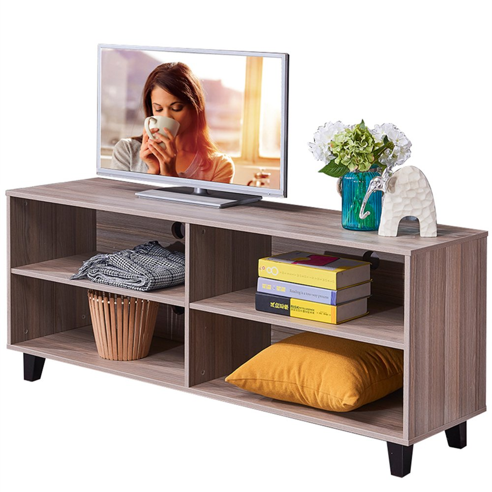 Dland TV Stand WF-TVG001TK, 4-Cube, 58'' Entertainment Center Console Storage Cabinet, Composite Wood Board, Teak, 1 Pack