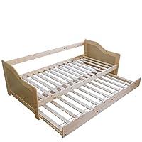 Homestyle4u Kiefer massiv Rahmen Rollen Gästebett, Einzelbett Ziehen Kinder Sofa, Holz, Natur, 206x 98x 30cm