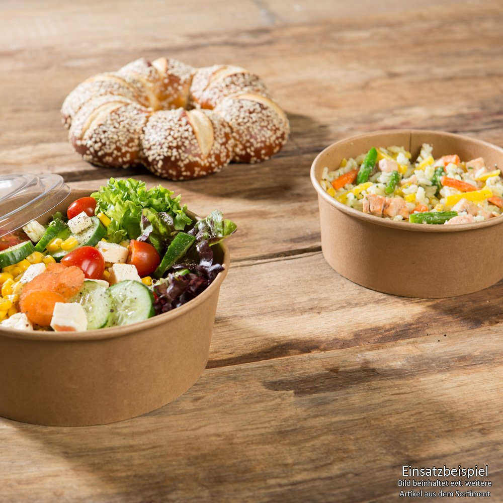 BIOZOYG 50x Bio disposable Salad bowls | Meal bowl | kraft carton, brown | 1000ml Ø 16cm round | with bio-coating | compostable acc. DIN13432 | recyclable | without chemistry Bionatic