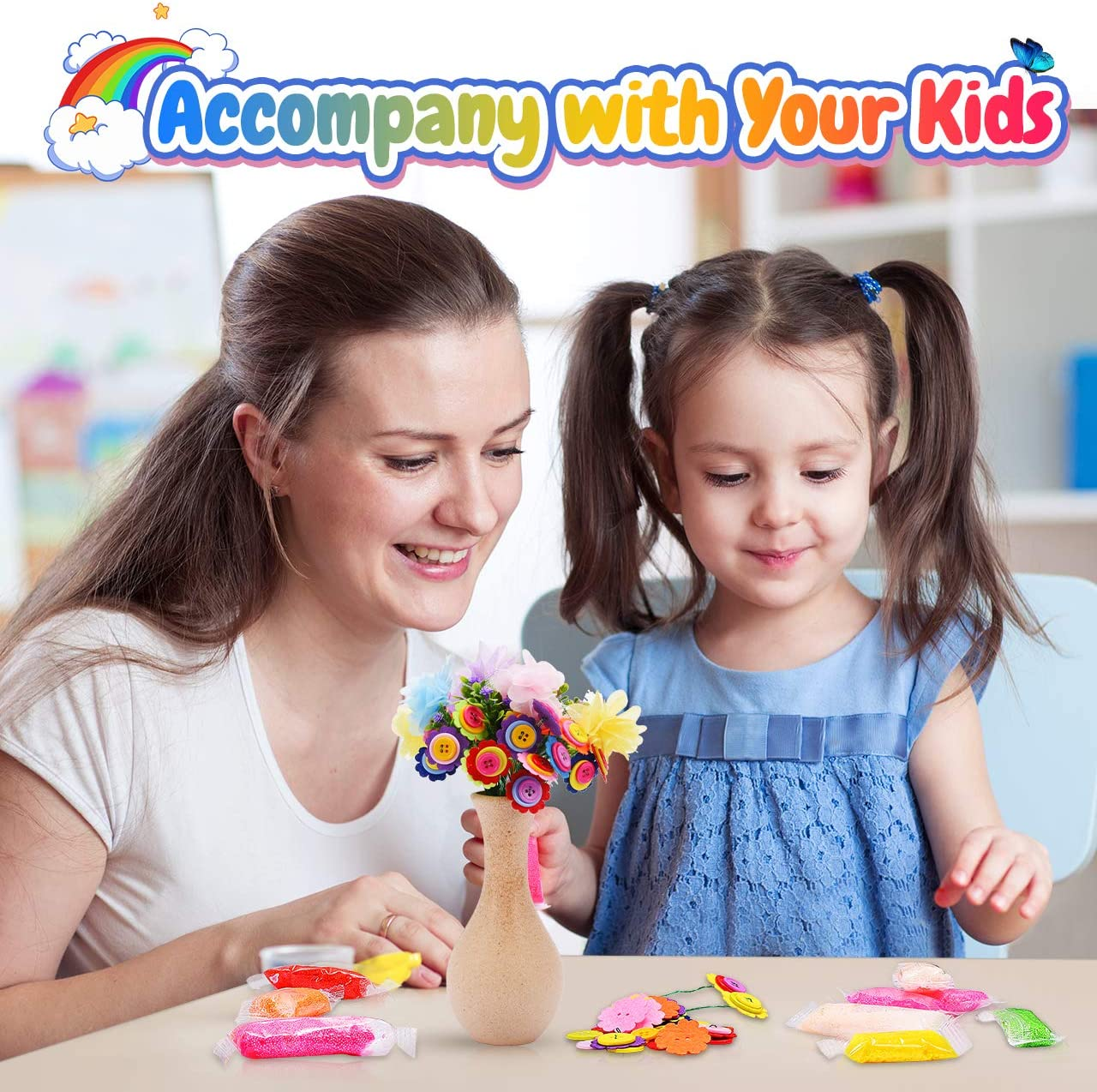 ATOPDREAM DIY Vase With Flower for Kids Best Gifts