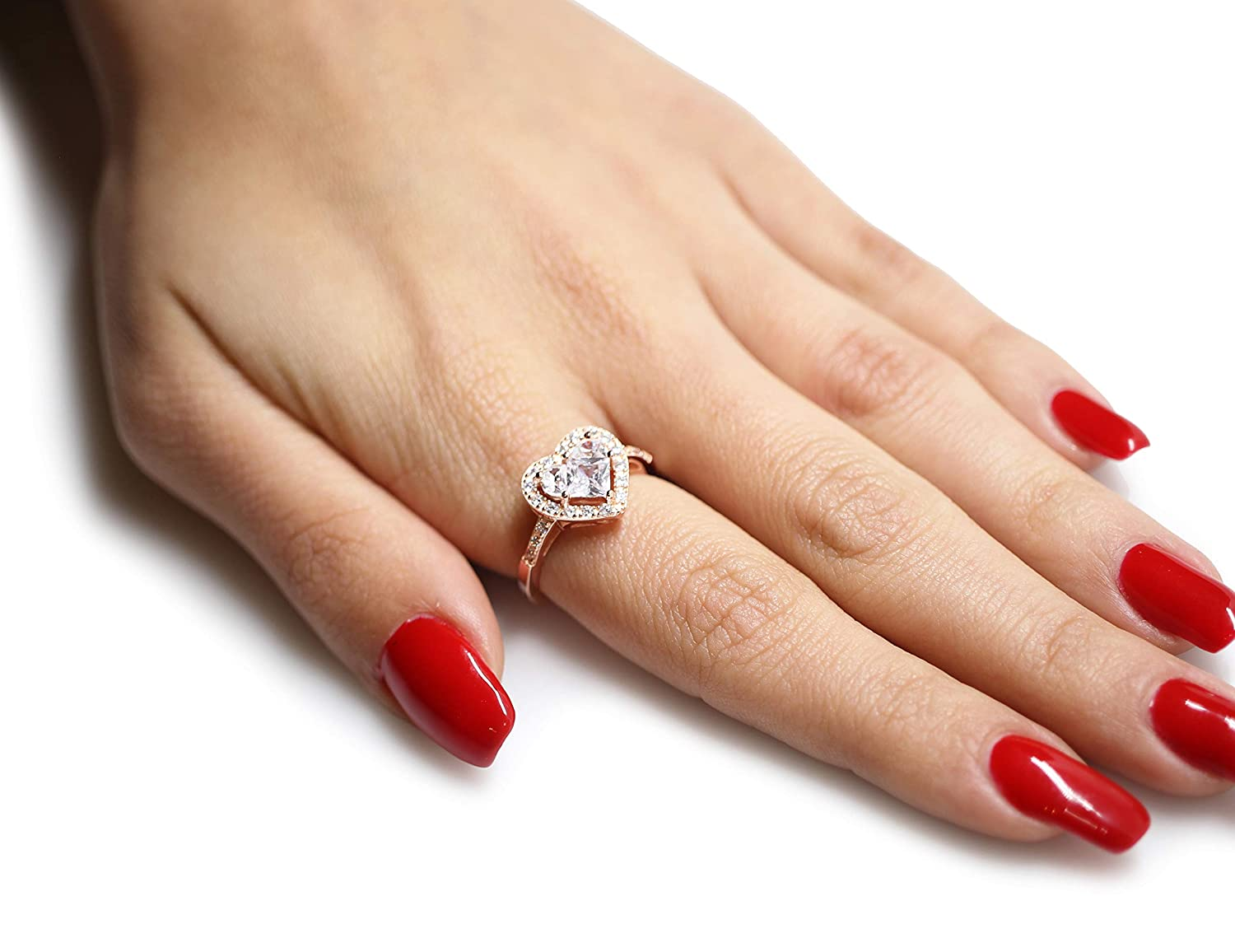 CloseoutWarehouse Cubic Zirconia Designer Inspired Heart Center Ring Sterling Silver