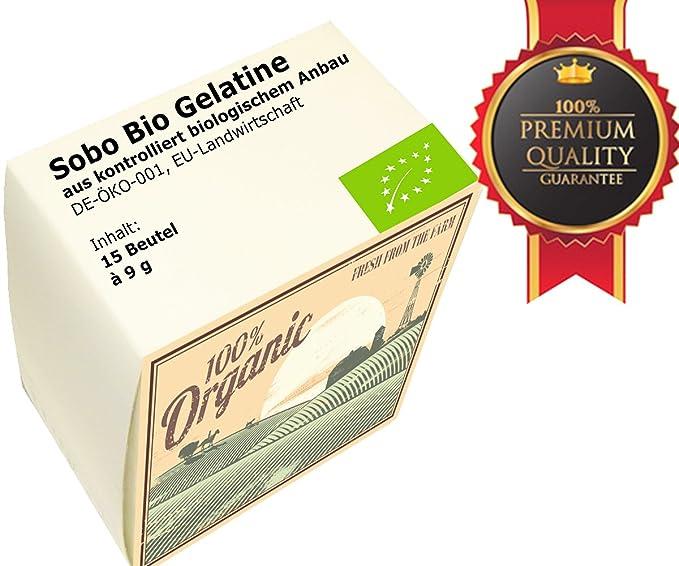 Polvo de Gelatina Orgánica Pura SOBO Paquete de 15 x 9g | La ...