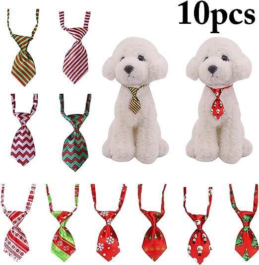 Funpa 10 UNIDS Navidad Mascota Corbata Ajustable Patrones Surtidos ...