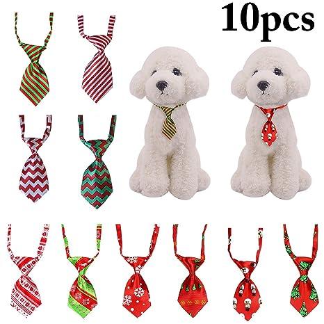 Legendog 10PCS Navidad Mascota Corbata Ajustable Clasificado Patrones Perro Corbata Corbata